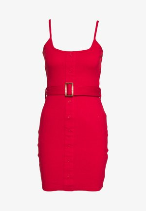 BELTED BUTTON STRAPPY MINI DRESS - Korte jurk - red