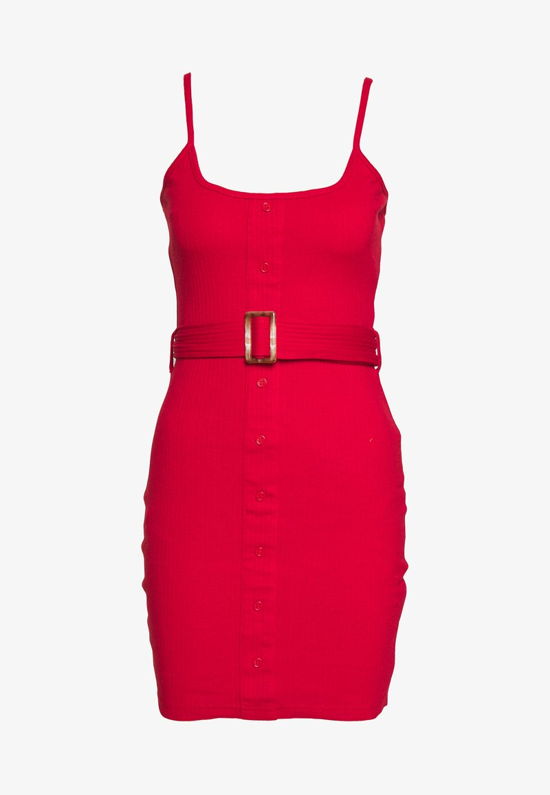 Missguided - BELTED BUTTON STRAPPY MINI DRESS - Robe d'été - red