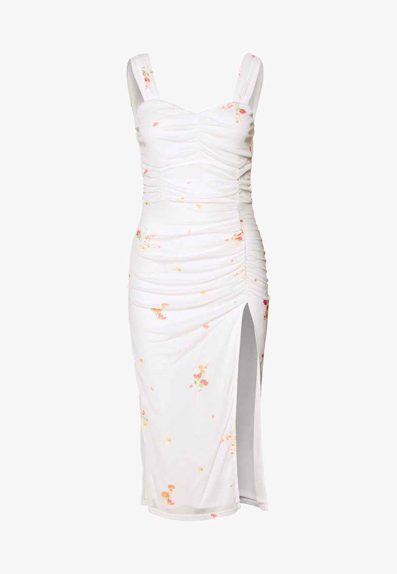 Missguided - FLORAL SQUARE NECK MIDI DRESS - Cocktailkjole - white