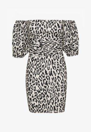 LEOPARD PUFF SLEEVE BARDOT DRESS - Robe d'été - sand