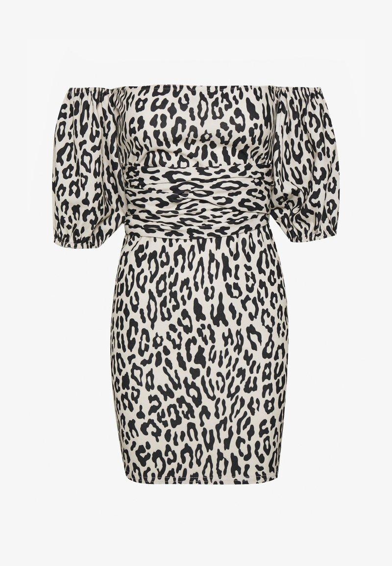 Missguided - LEOPARD PUFF SLEEVE BARDOT DRESS - Robe d'été - sand