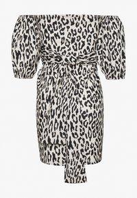Missguided - LEOPARD PUFF SLEEVE BARDOT DRESS - Robe d'été - sand - 1