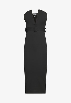 V BAR BELTED MIDI DRESS - Kotelomekko - black
