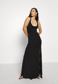 Missguided - SLINKY COWL NECK CROSS BACK MAXI DRESS - Vestido de fiesta - black - 1