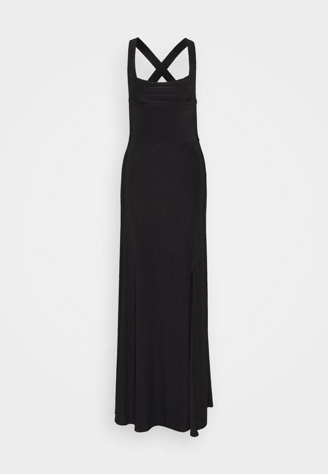 SLINKY COWL NECK CROSS BACK MAXI DRESS - Maxi-jurk - black