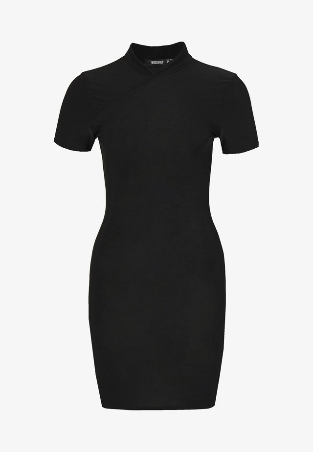 SLINKY HIGH NECK BODYCON DRESS - Vestito estivo - black
