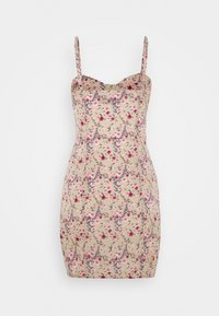 Missguided - FLORAL HOOK AND EYE MINI DRESS - Kjole - sand - 1