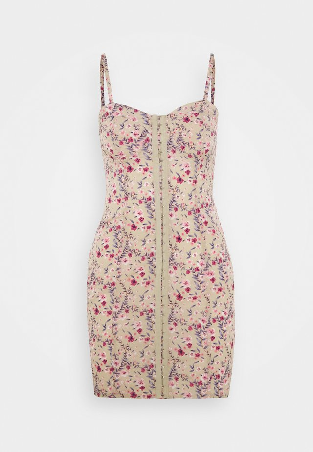 FLORAL HOOK AND EYE MINI DRESS - Day dress - sand