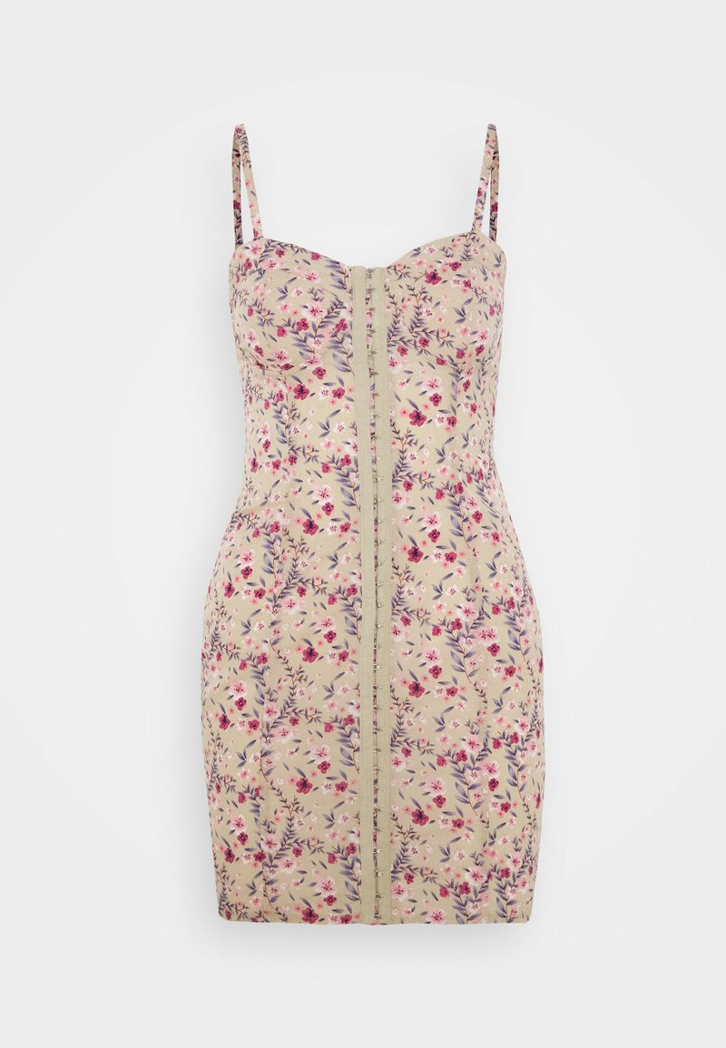 Missguided - FLORAL HOOK AND EYE MINI DRESS - Kjole - sand
