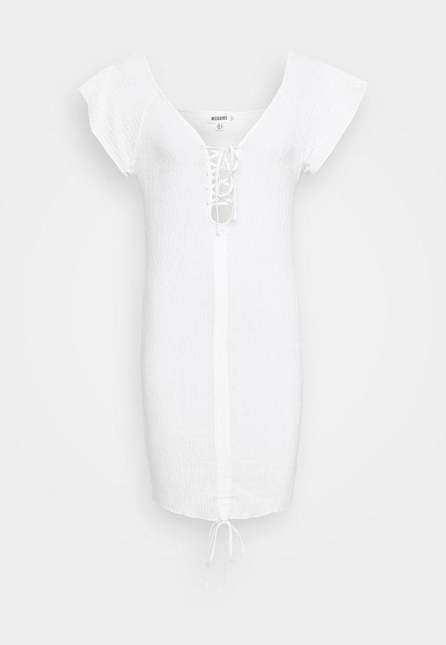 RUCHE FRONT MIDI DRESS - Robe pull - white