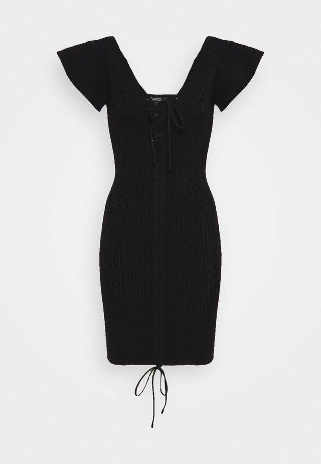 RUCHE FRONT MIDI DRESS - Gebreide jurk - black