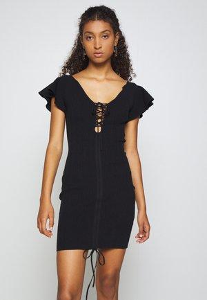 RUCHE FRONT MIDI DRESS - Vestido de punto - black