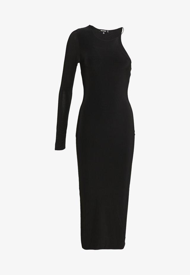 ONE SHOULDER RACER MIDI DRESS - Maxi dress - black
