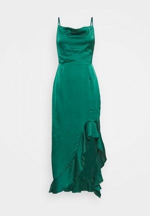 CAMI RUFFLE SIDE MIDI DRESS - Occasion wear - deep green