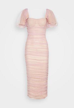RUCHED PUFF SLEEVE MIDI DRESS - Společenské šaty - pink