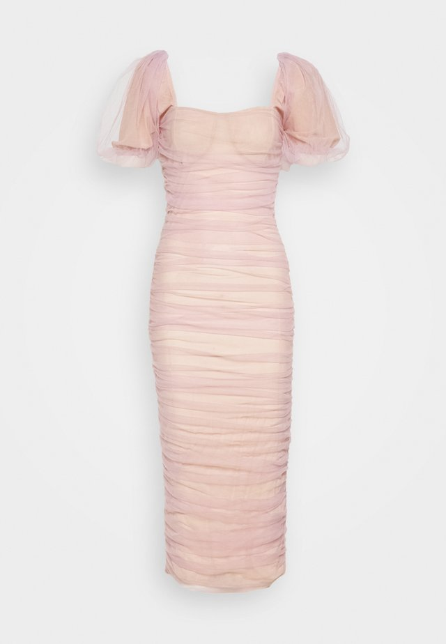 RUCHED PUFF SLEEVE MIDI DRESS - Galajurk - pink