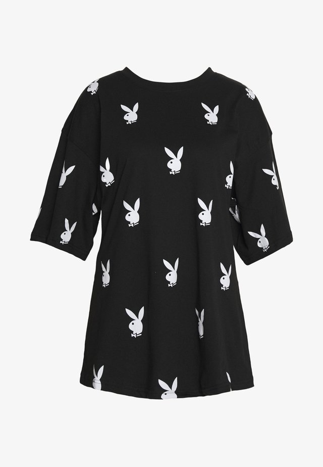 PLAYBOYOVERSIZED T-SHIRT DRESS - Sukienka z dżerseju - black/white