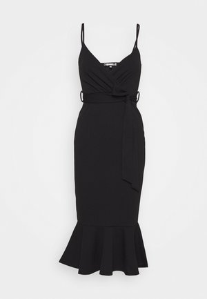 STRAPPY WRAP MIDI DRESS - Žerzejové šaty - black