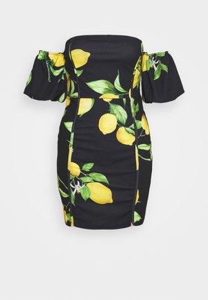 LEMON PRINT BARDOT MINI DRESS - Kjole - black
