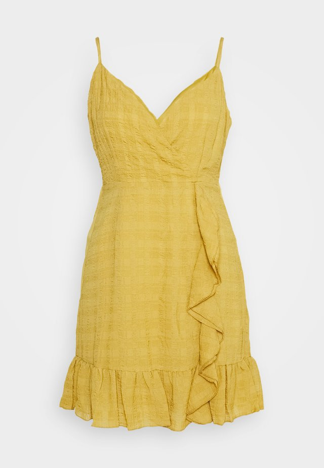 TEXTURED WRAP FRILL MINI DRESS - Day dress - mustard