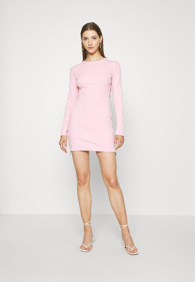 SIDE ZIP MINI DRESS - Shift dress - pink
