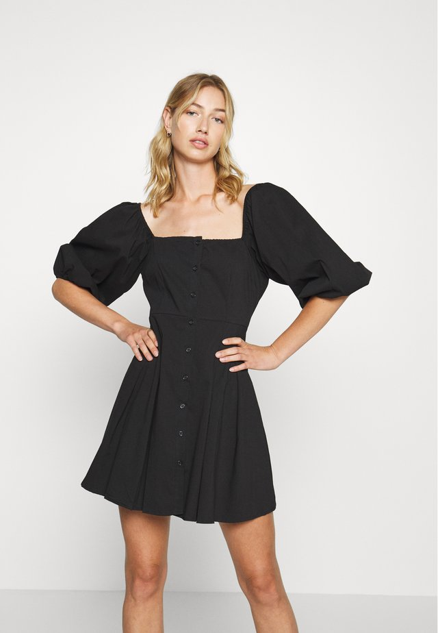 PUFF SLEEVE BUTTON THROUGH MINI DRESS - Shirt dress - black