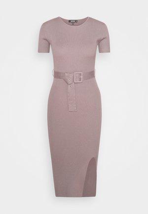 SELF BELT MIDAXI DRESS - Jumper dress - brown