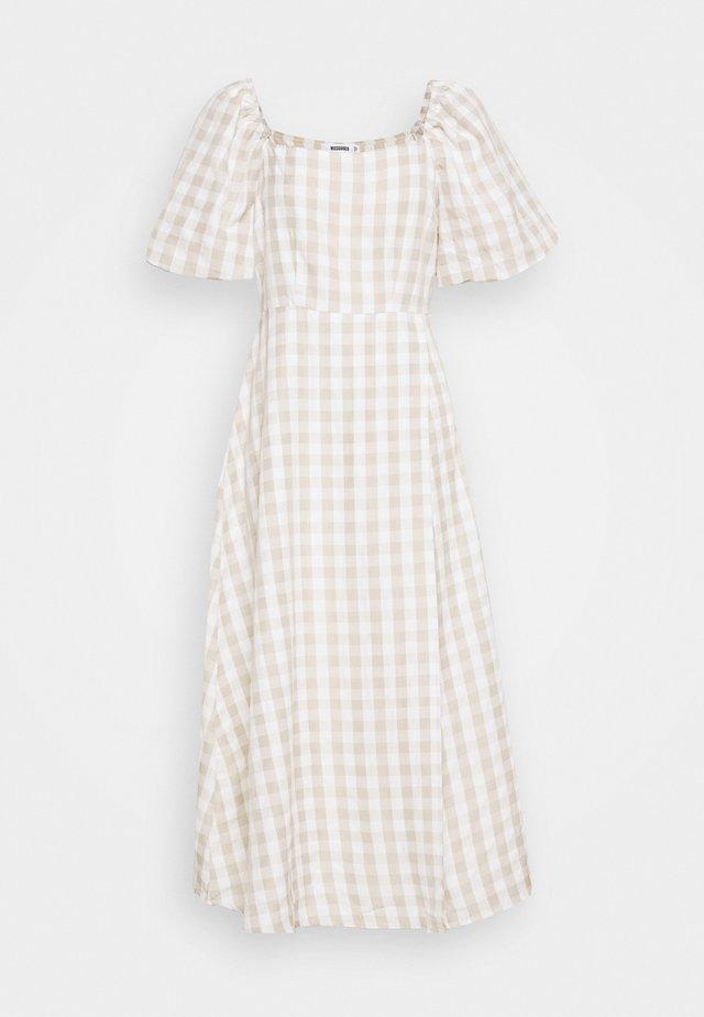 GINGHAM PUFF SLEEVE SPLIT DRESS - Day dress - stone