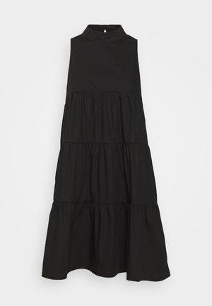 POPLIN SLEEVELESS TIERED SMOCK DRESS - Robe d'été - black