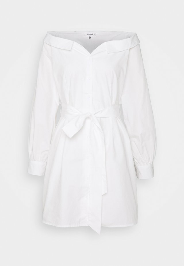BARDOT BELTED SHIRT DRESS - Abito a camicia - white