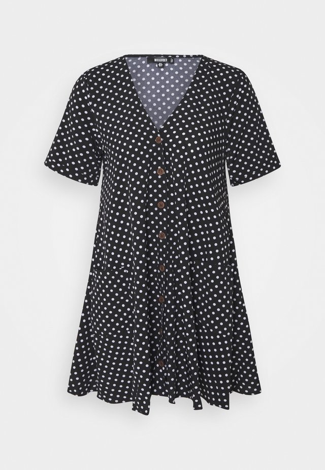 BUTTON SMOCK DRESS POLKA DOT - Freizeitkleid - black