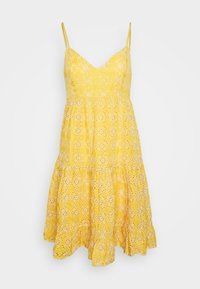 Missguided - BRODERIE LONG SLEEVED PLUNGE DRESS - Robe d'été - yellow - 0