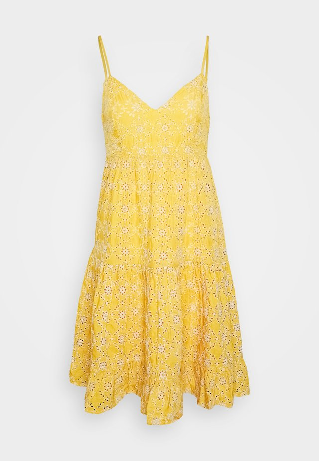 BRODERIE LONG SLEEVED PLUNGE DRESS - Day dress - yellow