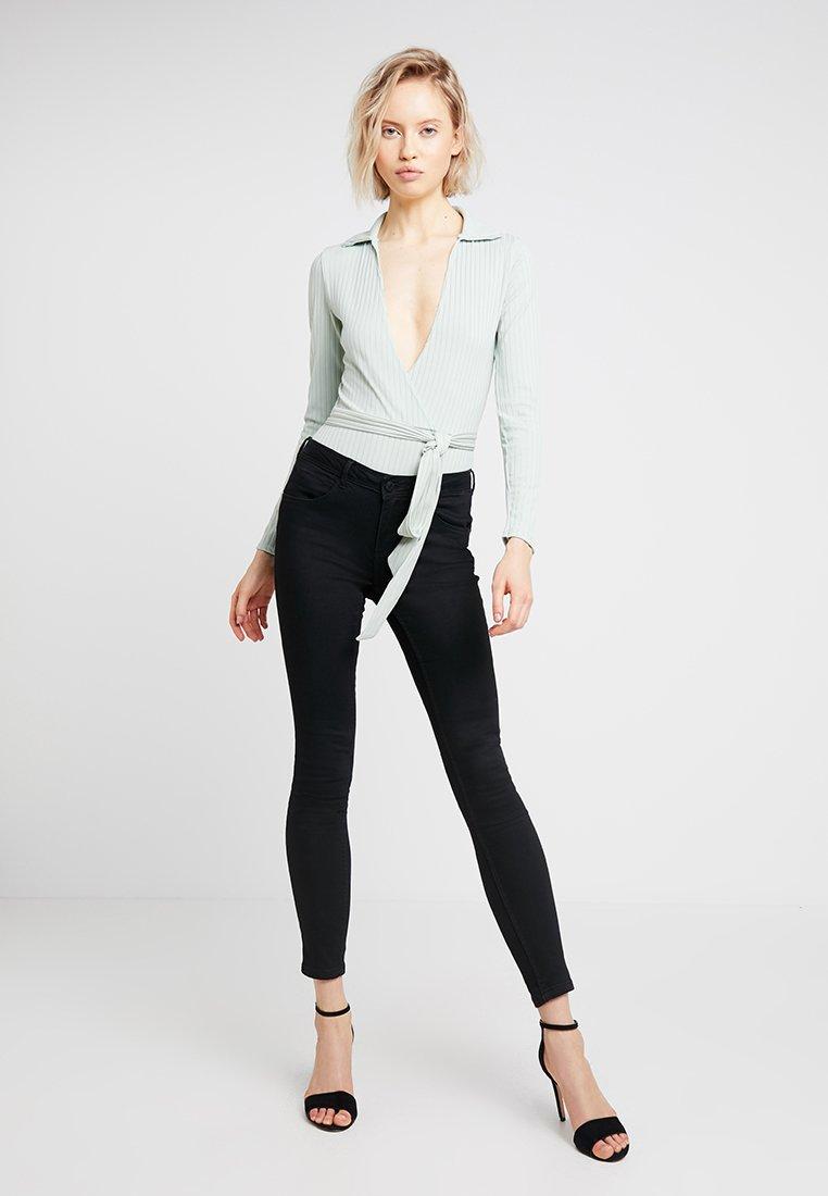 Missguided - WRAP FRONT BODYSUIT - Langarmshirt - mint green