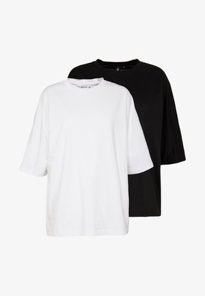 DROP SHOULDER OVERSIZED 2 PACK - T-shirts - white/black