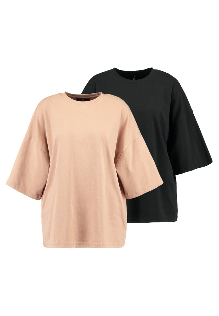 Missguided - DROP SHOULDER OVERSIZED 2 PACK - T-shirt basic - camel/black