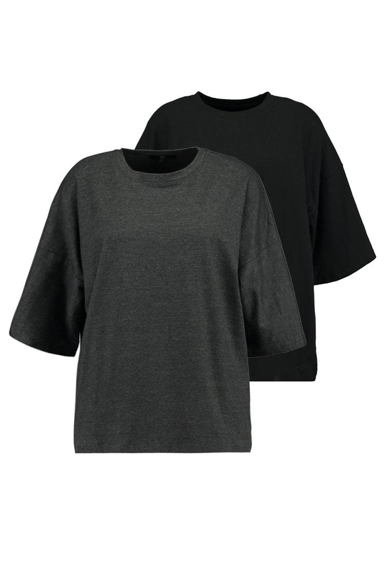 Missguided - DROP SHOULDER OVERSIZED 2 PACK - T-shirts - black/grey