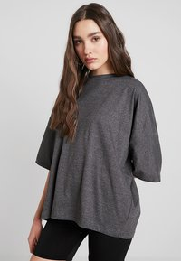 Missguided - DROP SHOULDER OVERSIZED 2 PACK - T-shirts - black/grey - 2