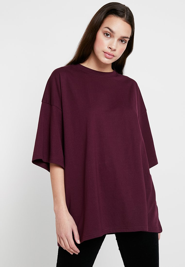 Missguided - DROP SHOULDER - T-Shirt basic - burgundy