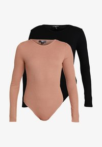 Missguided - BASIC LONG SLEEVE BODYSUIT 2 PACK - Longsleeve - black/camel - 5