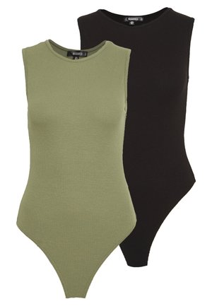 SLEEVELESS BODYSUIT 2 PACK - Débardeur - black/khaki