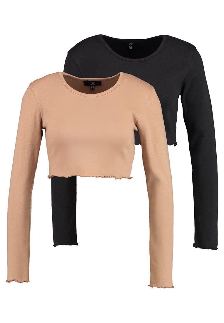 Missguided - LONG SLEEVE LETTUCE HEM CROP 2 PACK - Long sleeved top - black/camel