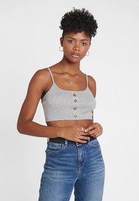 Missguided - BUTTON DOWN CROP CAMI 2 PACK - Top - grey/black - 3