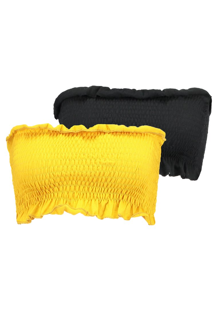 Missguided - SHEARED BANDEAU 2 PACK  - Top - black/mustard