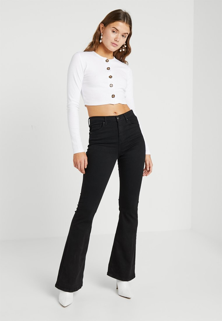 Missguided - BUTTON LONG SLEEVE CROP 2 PACK - Long sleeved top - black/white