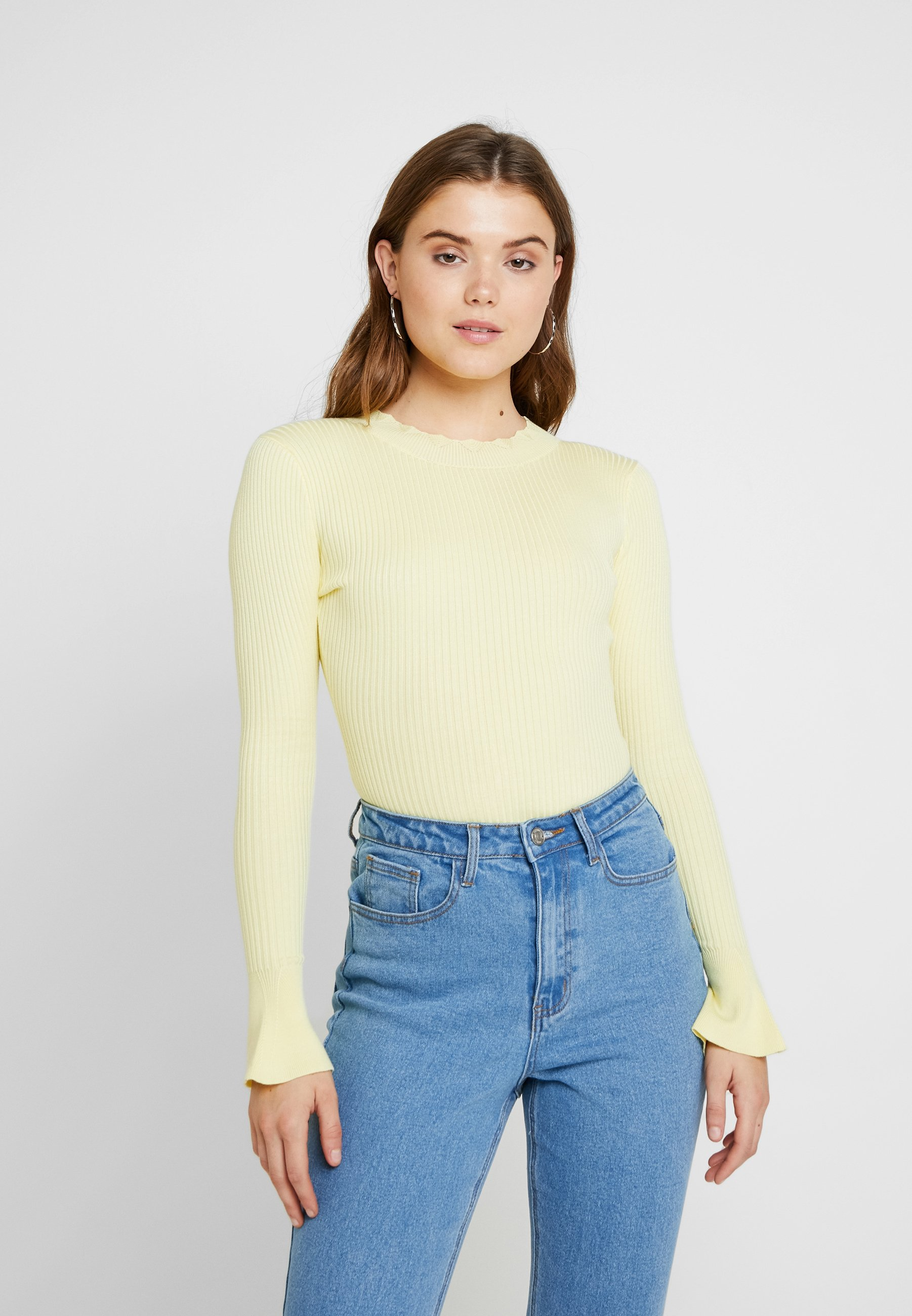 High Neck Flared Yellow Missguided Sleeves BodysuitPullover shrxQtdC
