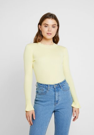 HIGH NECK FLARED SLEEVES BODYSUIT - Trui - yellow