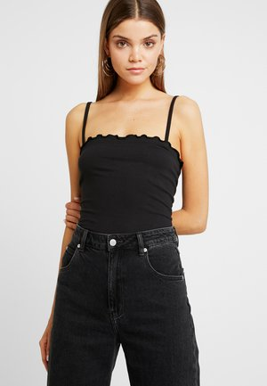 LETTUCE HEM BODYSUIT - T-shirt z nadrukiem - black