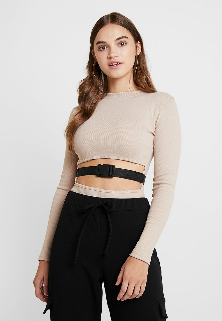 Missguided - BUCKLE FRONT CUTOUT - Top - eggnog