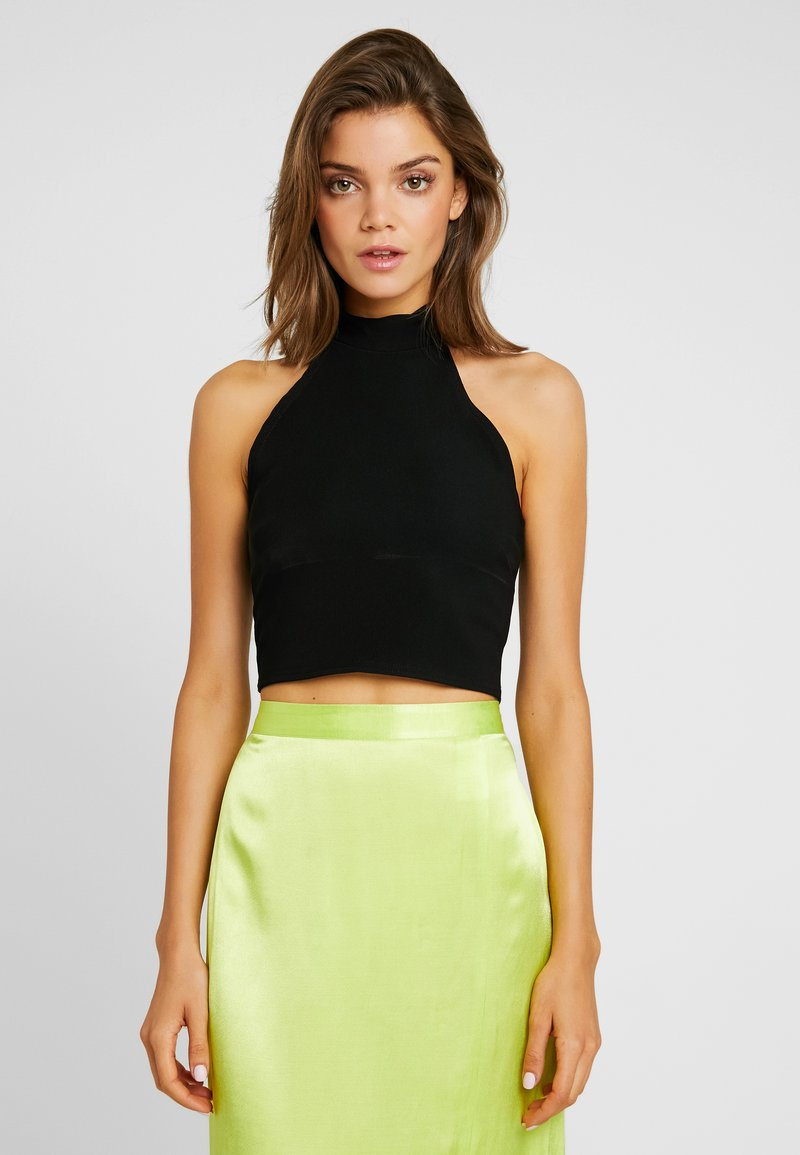 Missguided - SLEEVELESS HIGH NECK CROP - Top - black